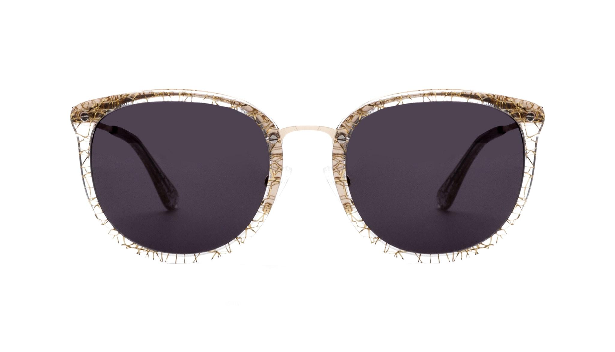 Affordable Fashion Glasses Square Round Sunglasses Women Amaze Champagne Front