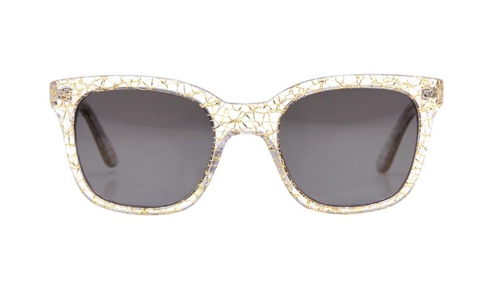 Lunettes tendance Rectangle Carrée Lunettes solaires Femmes Jack & Norma Champagne Face