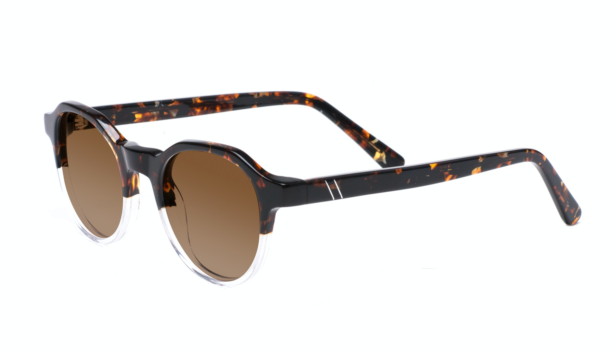 Affordable Fashion Glasses Round Sunglasses Men Form Mahogany Clear Tilt