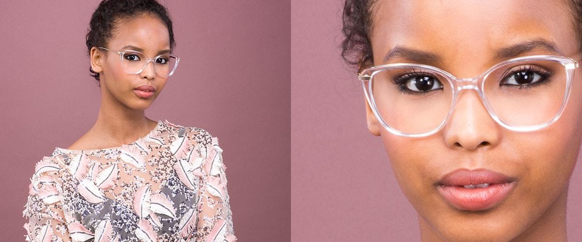 Lunettes tendance Oeil de chat Rectangle Carrée Lunettes de vue Femmes Illusion Gold Diamond